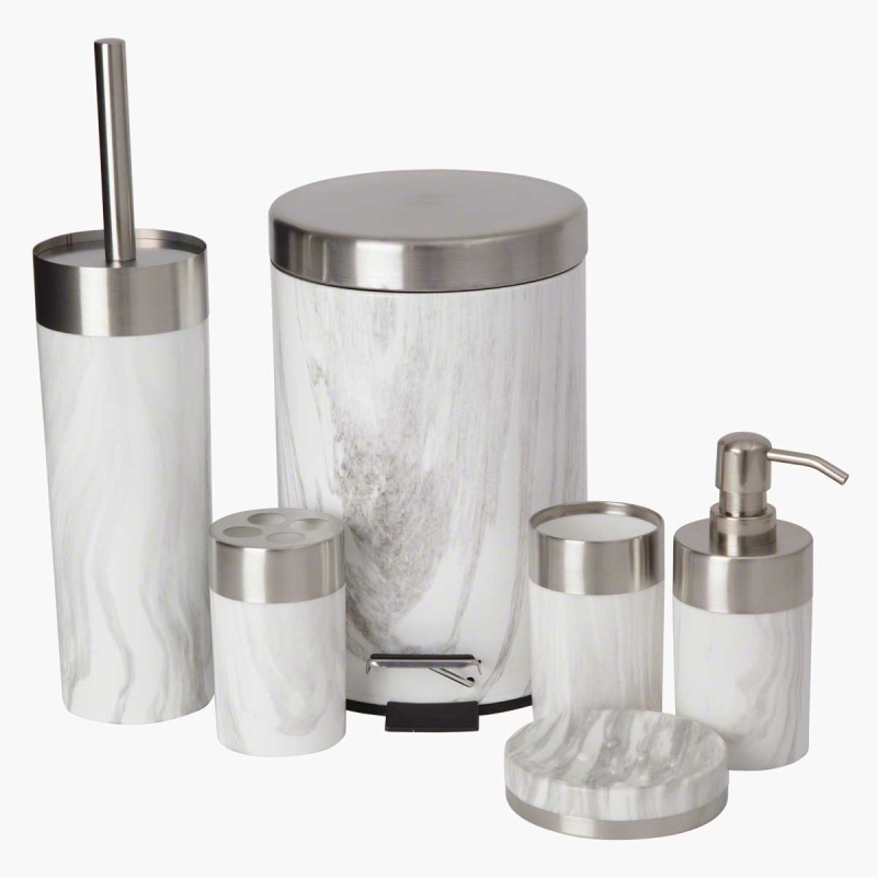 Marble 6 piece bath accessory set bathroom accessories for Marble bathroom accessories