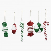 Family 12-Piece Assorted Candy Swirl Tree Decoration Set