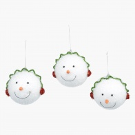 Family Funky Snowman Ball Tree Decoration - Set of 4