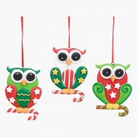 Family Funny Owls Tree Decoration - Set of 3